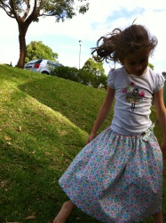 Miss 7 road testing the Happy Twirly Whirly Skirt
