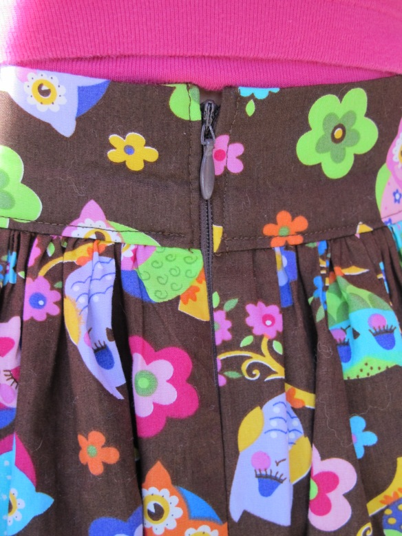 Zoe's owl skirt waistband - back view