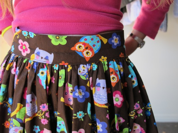 Zoe's owl skirt waistband - front view