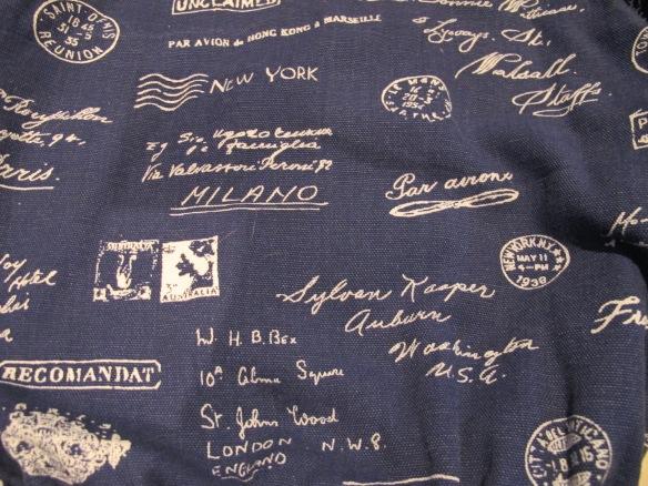 Sewaholic Minoru jacket fabric - postage marks!