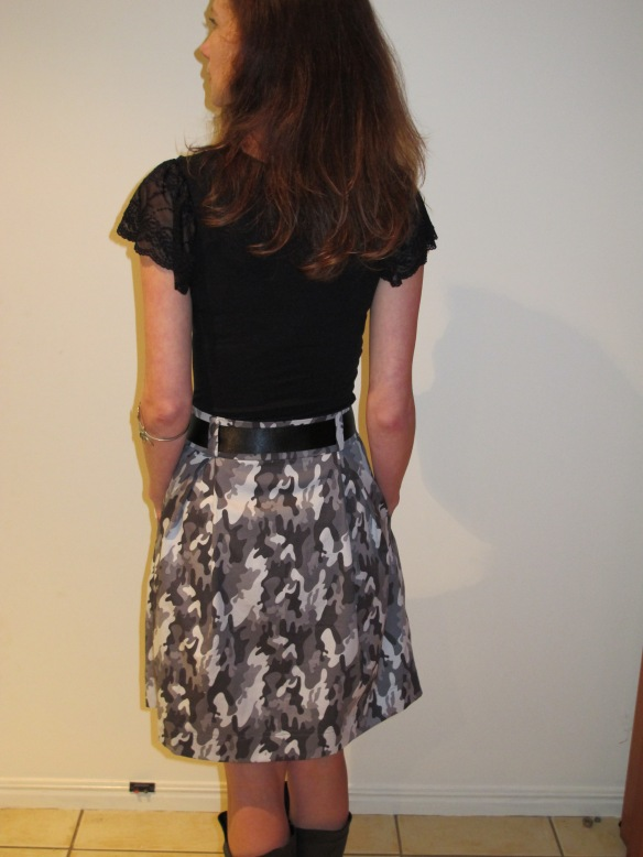 Megan Nielsen's Kelly Skirt in camo - back view