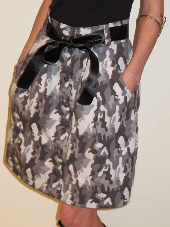 Megan Nielsen's Kelly Skirt in camo - front view