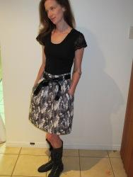 Megan Nielsen's Kelly Skirt in camo - full view