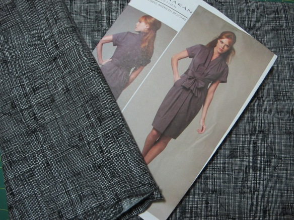 Vogue 1220 - black cross-hatched cotton with a tiny bit of stretch