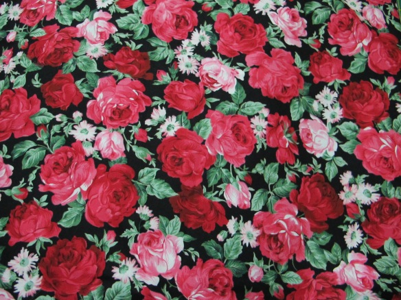 Cotton poplin - roses on a black background
