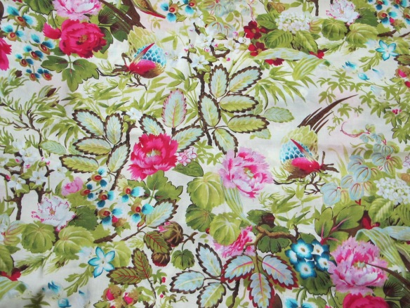More cotton voile - foliage and birdies