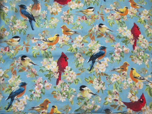 yet more cotton voile - blue birdies