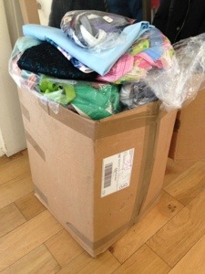 The HUGE box Abakhan Fabrics sent me,