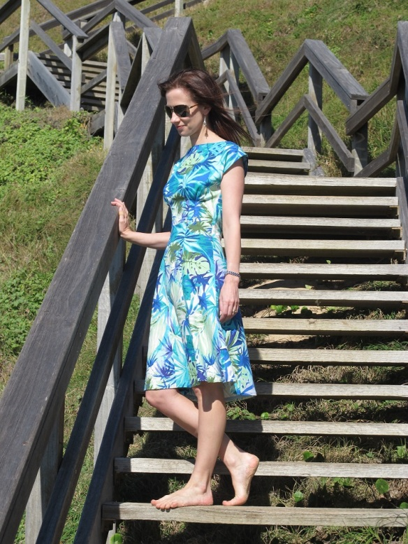 Anna Blue - a By Hand London dress. The midi version with the high neckline
