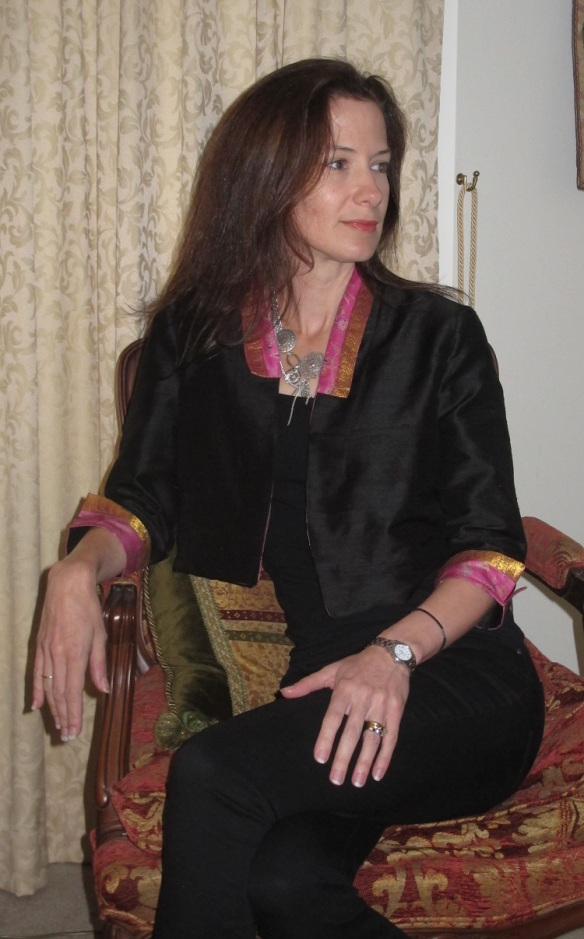 By Hand Victoria Blazer the Sari Edition with black singlet and skinny jeans!