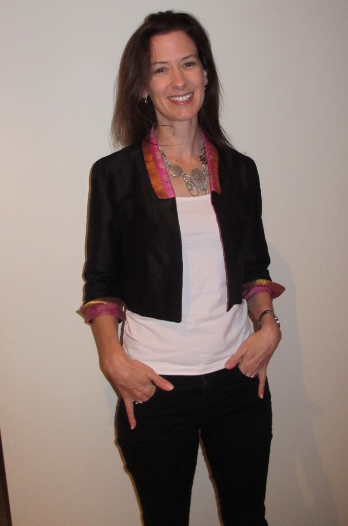 By Hand Victoria Blazer the Sari Edition with white singlet and black skinny jeans!