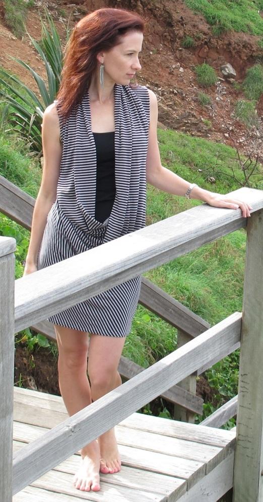Drape Drape 2: No.6 Three-piece deep cowl neck dress