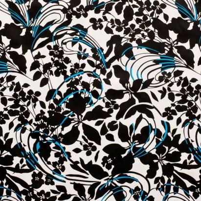 White-Black Lightweight Stretch Cotton Print from Mood Fabrics