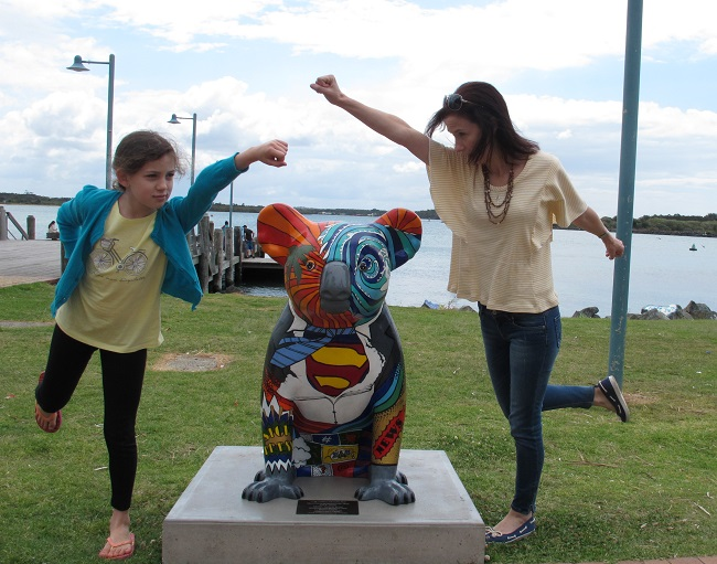 Totally unplanned picture - but seemed too perfect! A Superman Koala on our Town Green (which comes with a bonus waterfront!)