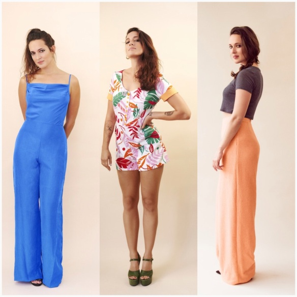 The three faces of Holly! A jumpsuit, a playsuit and trousers!