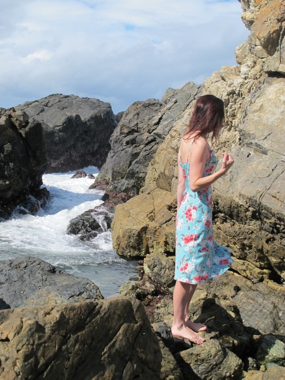By Hand London Holly Jumpsuit - as a dress. Side view. Taken earlier in the day while checking out rockpools with the kids.