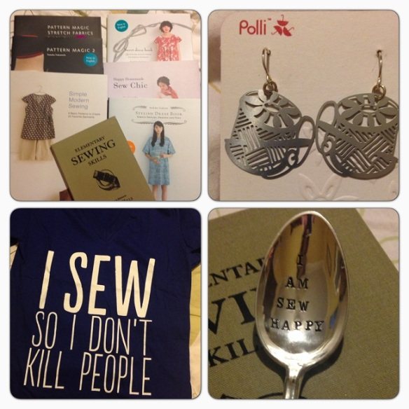 Japanese sewing books, 'cotton reel' earrings, t-shirt (enough said) and a very cute silver spoon!