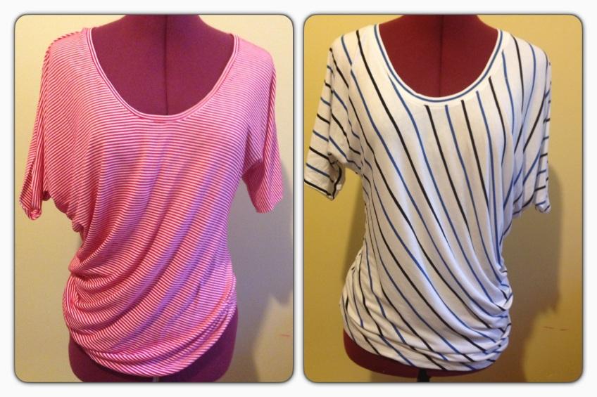 Red stripe and blue stripe Drape Drape 2 No.4 shirts.