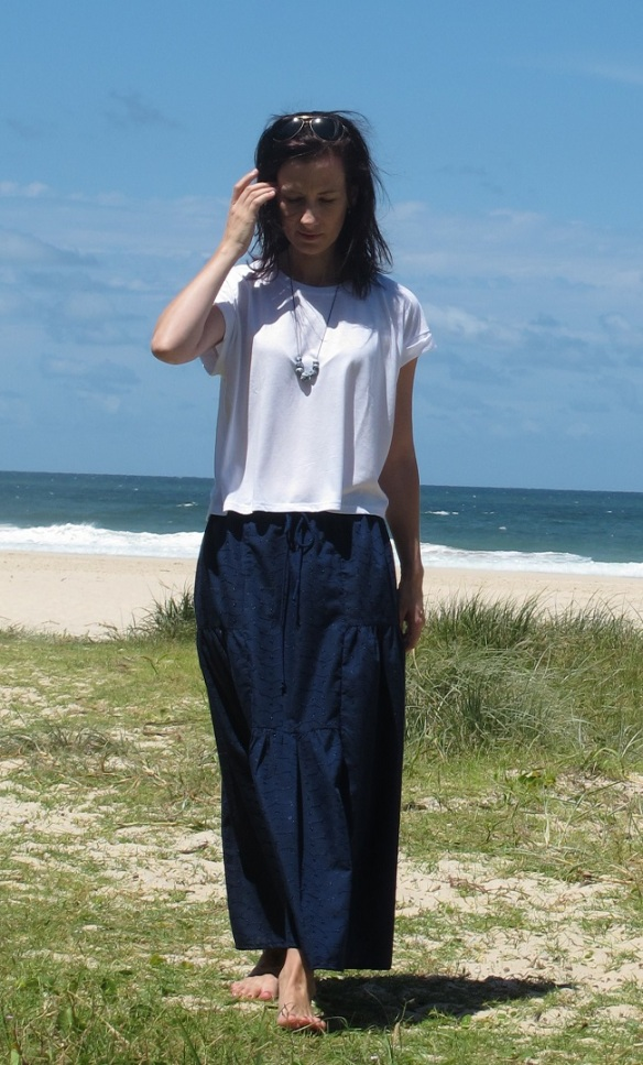Stylish Skirts - tiered navy front 2 beach