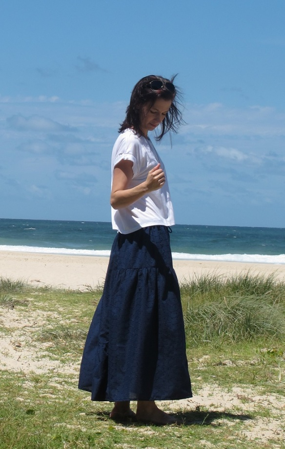 Stylish Skirts - tiered navy side 2 beach