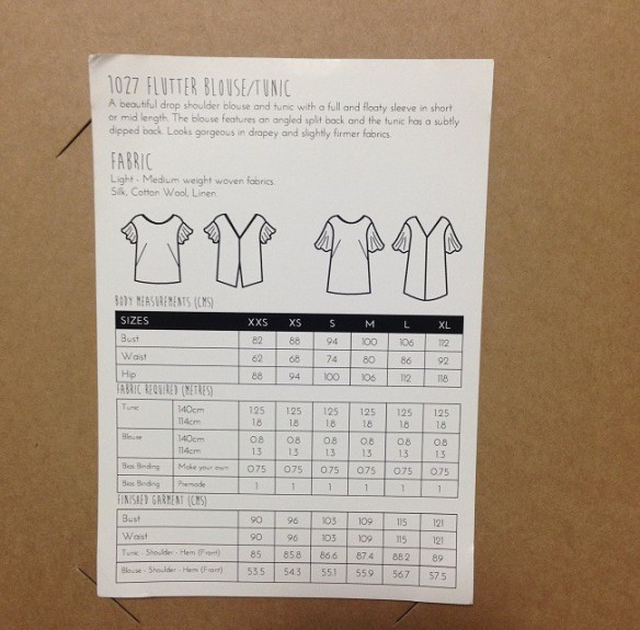 Flutter tunic - Papercut Patterns: line art, measurements and fabric requirements