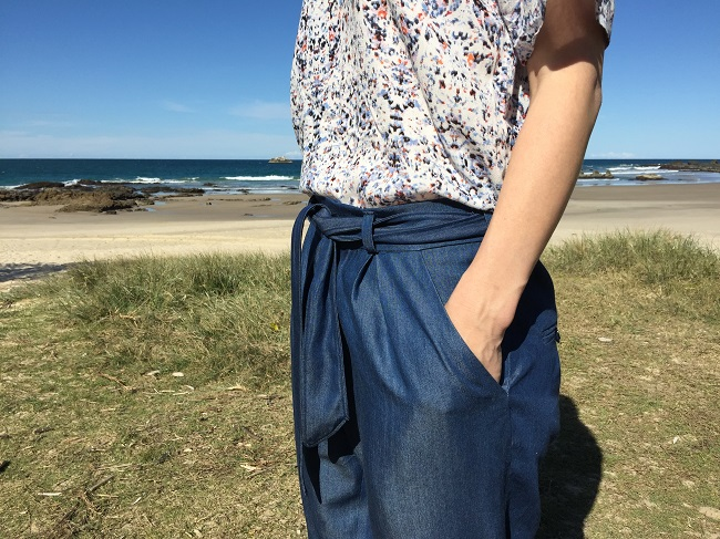 Papercut Patterns Guise Pants side pockets, front pleats and self-fabric belt