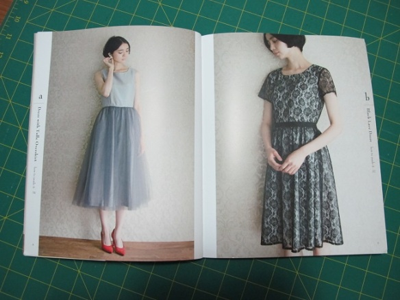 Designs a and b from Stylish Party Dresses, published by Tuttle Publishing.