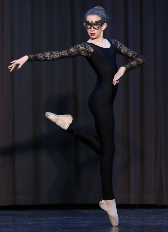 Zoe dressed as a 'Jewel Thief' in a Jalie Ballet Unitard with stretch lace sleeves.