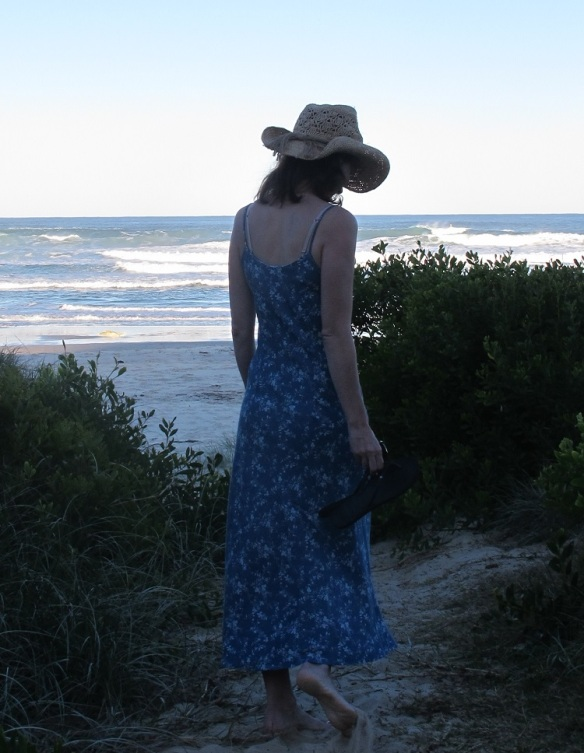 Sadie Slip Dress, back view. Sewn in lightweight tencel denim. Pattern by Tessuti Fabrics