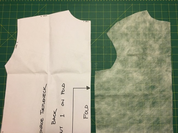Comparison of the Monroe (left) and Fall (right) armhole and shoulder pattern lines