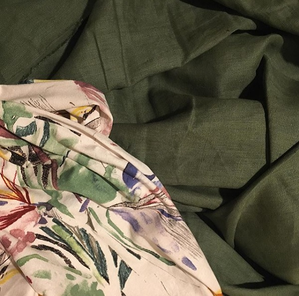Rayon knit and khaki linen - looked so good together!