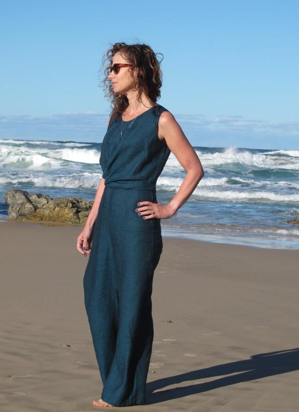 Papercut Mirri Jumpsuit, teal linen from De Linum